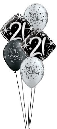 We Like To Party Elegant Sparkles 21st Birthday Balloon Bouquet
