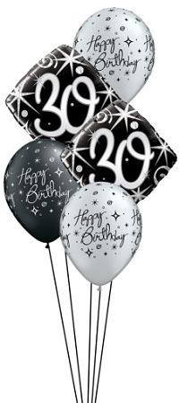 We Like To Party Elegant Sparkles 30th Birthday Balloon Bouquet