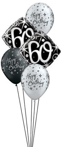 We Like To Party Elegant Sparkles 60th Birthday Balloon Bouquet