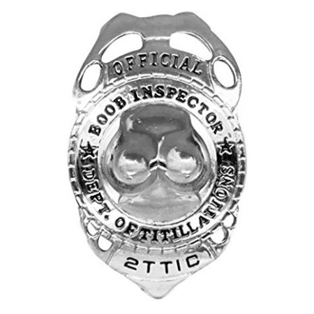 We Like To Party Bucks Night Boobie Inspector Badge