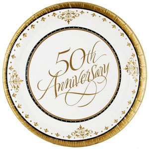 W Like To Party 50th Anniversary Plates