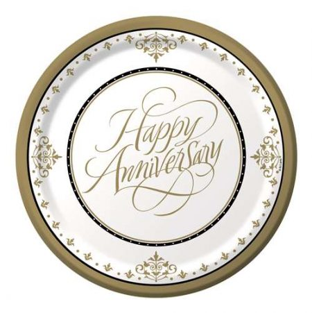 We Like To Party Happy Anniversary Gold Plates