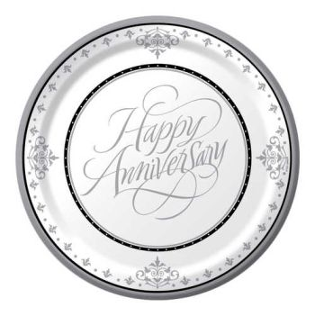 We Like To Party Happy Anniversary Silver Plates