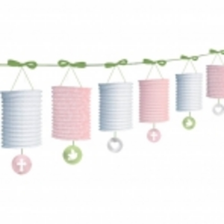 We Like To Party Christening Party Supplies & Decorations Sweet Christening Pink Lantern Garland