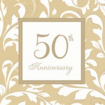 We Like To Party 50th Wedding Anniversary Luncheon Napkins 50th Elegant Scroll