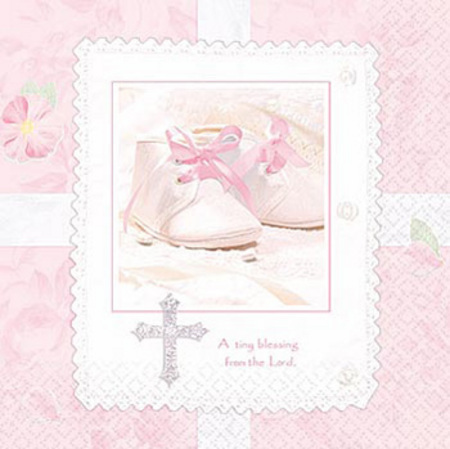 We Like To Party Christening Party Supplies & Decorations Tiny Blessing Pink Napkins