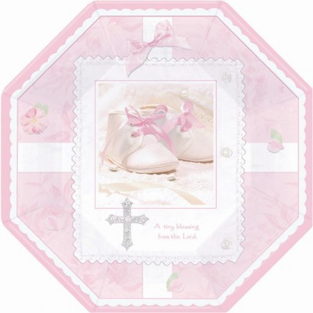 We Like To Party Christening Party Supplies & Decorations Tiny Blessing Pink Plates