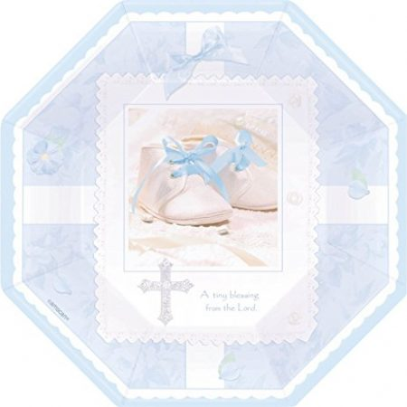We Like To Party Christening Party Supplies & Decorations Tiny Blessing Blue Plates