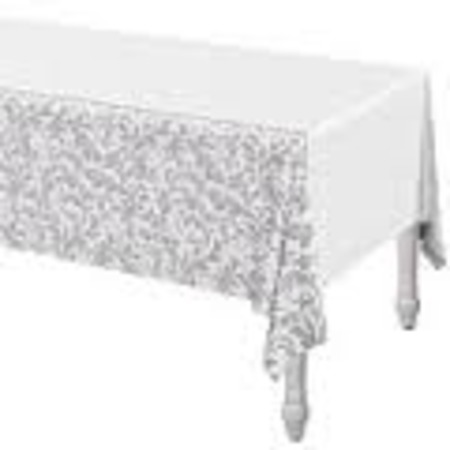 We Like To Party Silver Elegant Scroll Tablecover