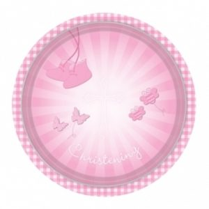 We Like To Party Christening Party Supplies & Decorations Pink Booties Plates