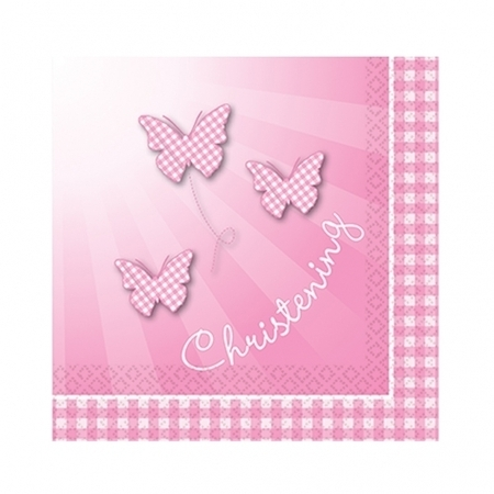We Like To Party Christening Party Supplies & Decorations Pink Booties Lunch Napkins