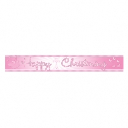 We Like To Party Christening Party Supplies & Decorations Pink Foil Banner