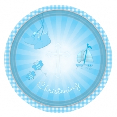 We Like To Party Christening Party Supplies & Decorations Blue Booties Plates