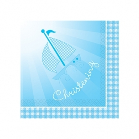 We Like To Party Christening Party Supplies & Decorations Blue Booties Lunch Napkins