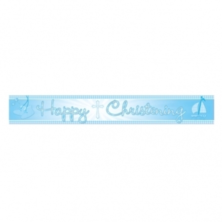 We Like To Party Christening Party Supplies & Decorations Blue Booties Foil Banner