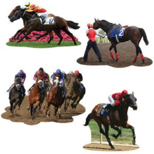We Like To Party Horse Racing Cutouts Pack of 4