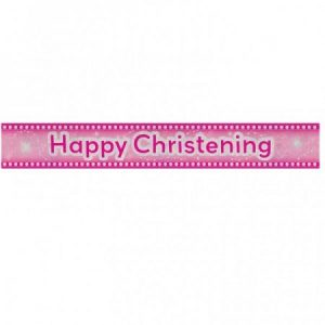 We Like To Party Christening Party Supplies & Decorations Happy Christening Pink