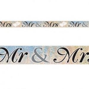 We Like To Party Hens Night Mr & Mrs Holographic Foil Banner