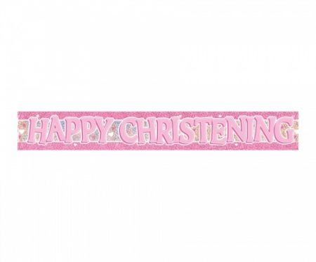 We Like To Party Christening Party Supplies & Decorations Pink Banner