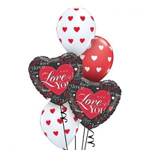 We Like To Party Red Black Valentine Hearts Balloon Bouquet