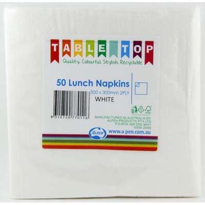 We Like To Party Plain Tableware Lunch Napkins White 50pk