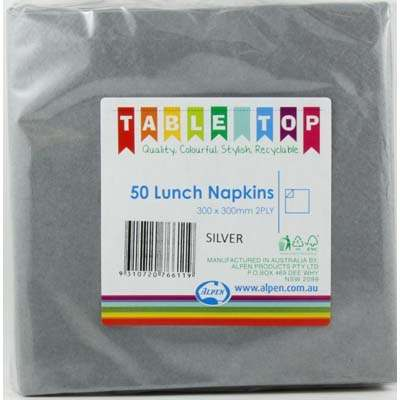 We Like To Party Plain Tableware Lunch Napkins Silver 50pk