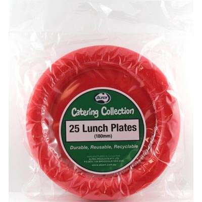 We Like To Party Plain Tableware Plastic Lunch Plates Red 25pk