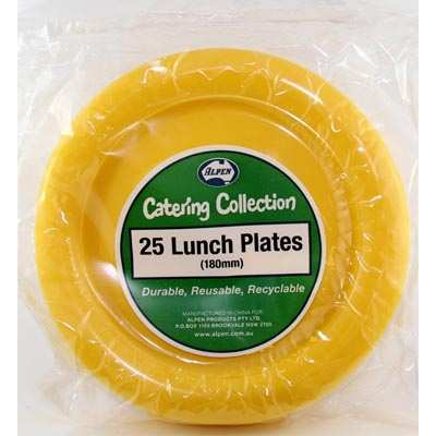 We Like To Party Plain Tableware Plastic Lunch Plates Yellow 25pk