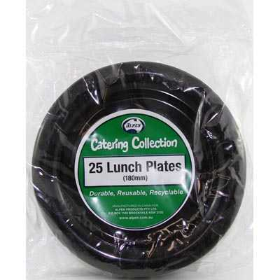 We Like To Party Plain Tableware Plastic Lunch Plates Black 25pk