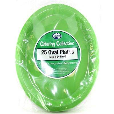 We Like To Party Plain Tableware Plastic Oval Plates Lime Green 25pk