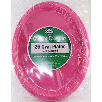 We Like To Party Plain Tableware Plastic Oval Plates Magenta 25pk
