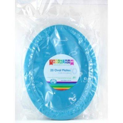 We Like To Party Plain Tableware Plastic Oval Plates Azure Blue 25pk