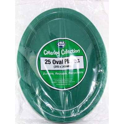 We Like To Party Plain Tableware Plastic Oval Plates Green 25pk