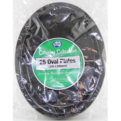 We Like To Party Plain Tableware Plastic Oval Plates Black 25pk
