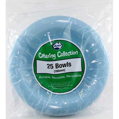 We Like To Party Plain Tableware Plastic Bowls Light Blue 25pk