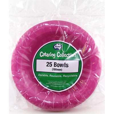 We Like To Party Plain Tableware Plastic Bowls Magenta 25pk