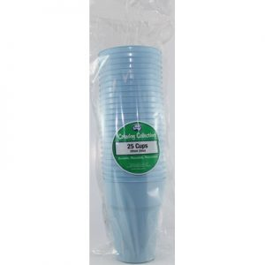 We Like To Party Plain Tableware Plastic Cups Light Blue 25pk
