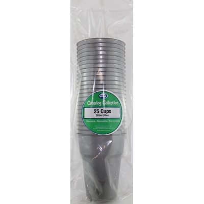 We Like To Party Plain Tableware Plastic Cups Silver 25pk