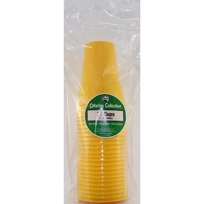 We Like To Party Plain Tableware Plastic Cups Yellow 25pk