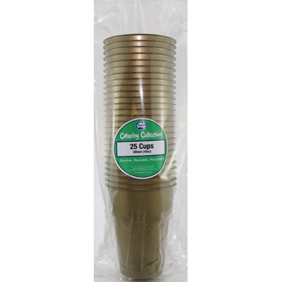 We Like To Party Plain Tableware Plastic Cups Gold 25pk