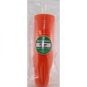 We Like To Party Plain Tableware Plastic Cups Orange 25pk