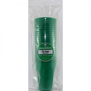 We Like To Party Plain Tableware Plastic Cups Green 25pk