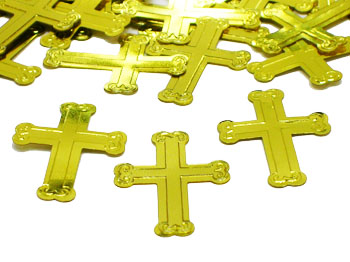 We Like To Party Table Confetti Embossed Gold Crosses