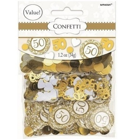 We Like To Party Table Confetti 50th Gold Anniversary Value Pack Scatters
