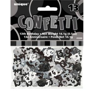 We Like To Party Table Confetti Glitz Black And Silver Number 13