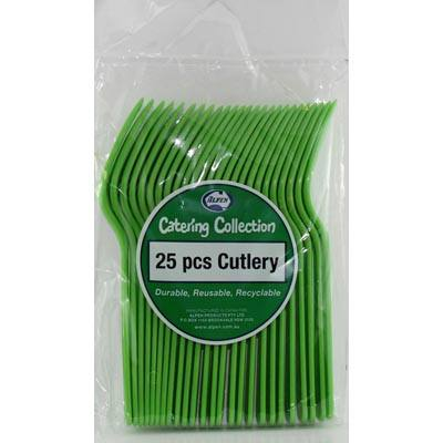 We Like To Party Plain Tableware Cutlery Forks Lime Green