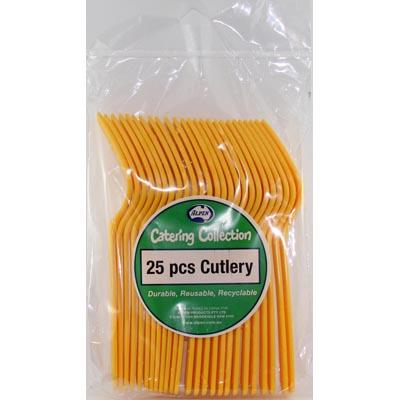 We Like To Party Plain Tableware Cutlery Forks Yellow
