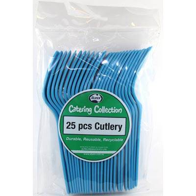 We Like To Party Plain Tableware Cutlery Forks Azure Blue
