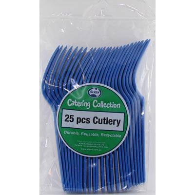 We Like To Party Plain Tableware Cutlery Forks Royal Blue