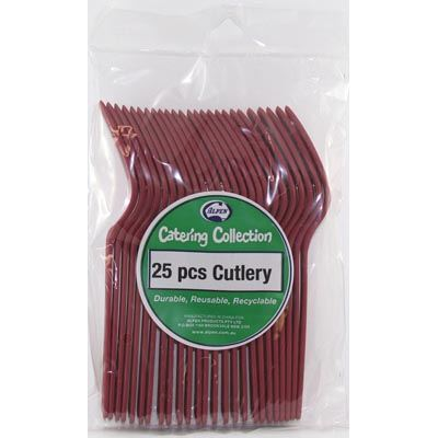 We Like To Party Plain Tableware Cutlery Forks Burgundy